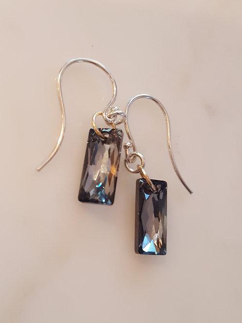 Silver Night Baguette Earrings