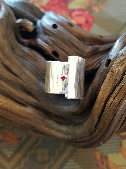 Wide Band Garnet Ring