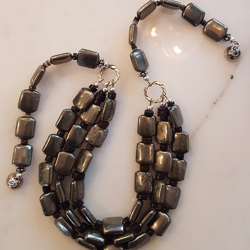 Three Strand Pyrite Necklace