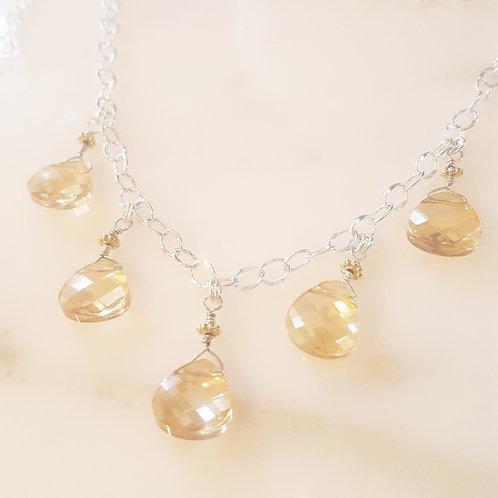 Gold Swarovski Crystal Cascade Necklace