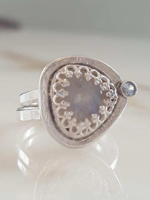 Moonstone & Aquamarine Ring