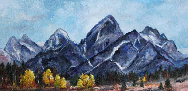 Image of a painting of the Grand Teton Range