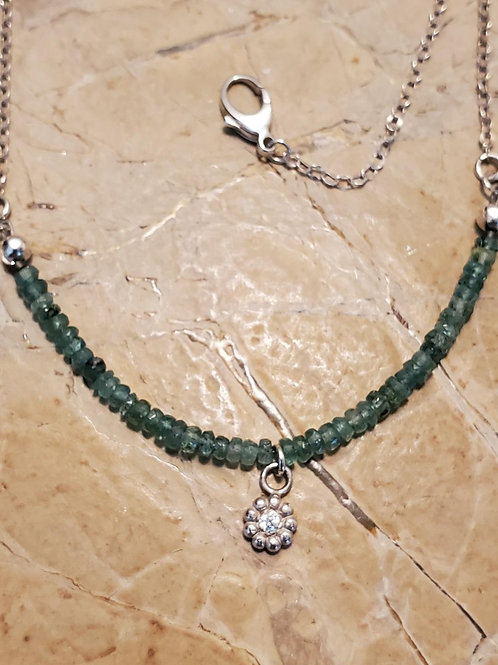 Aquamarine Necklace with 2 mm CZ