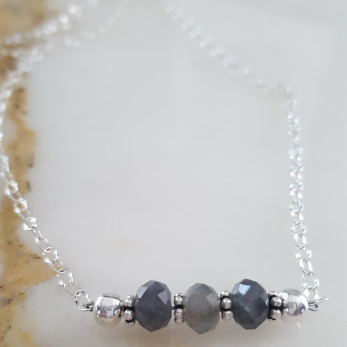 Three Stone Labradorite Necklace