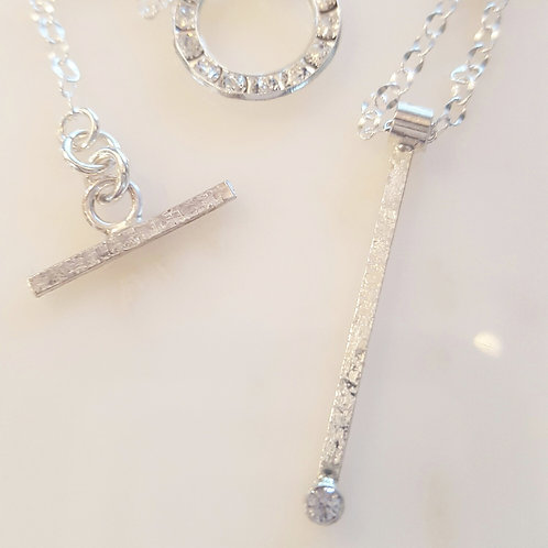 Bar Pendant with Crystal-Set Clasp