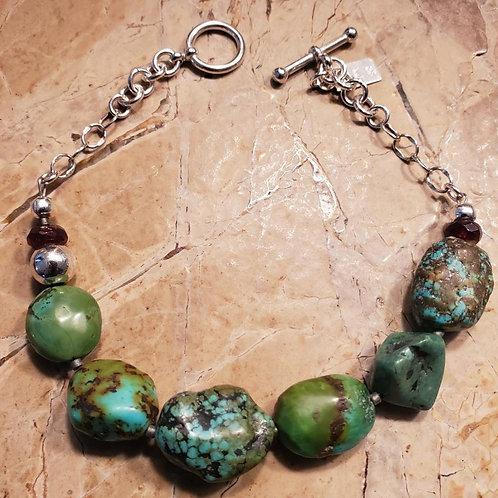 Tibetan Turquoise Bracelet with Rhodolites