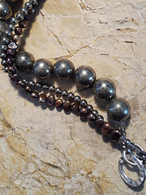 Bronze Pearls & Pryrite Beads