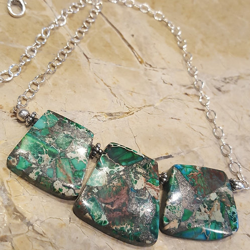 Three Stone Malachite Necklace
