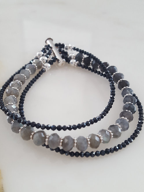 Labradorite & Black Spinel Bracelet