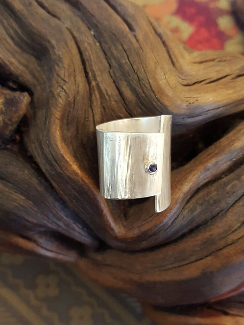 Wide Sterling Sapphire Ring