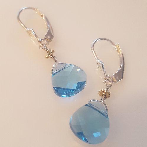 Aquamarine Swarovski Teardrop Earrings