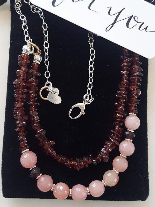 Double Strand Rose Quartz & Rhodolite Stones