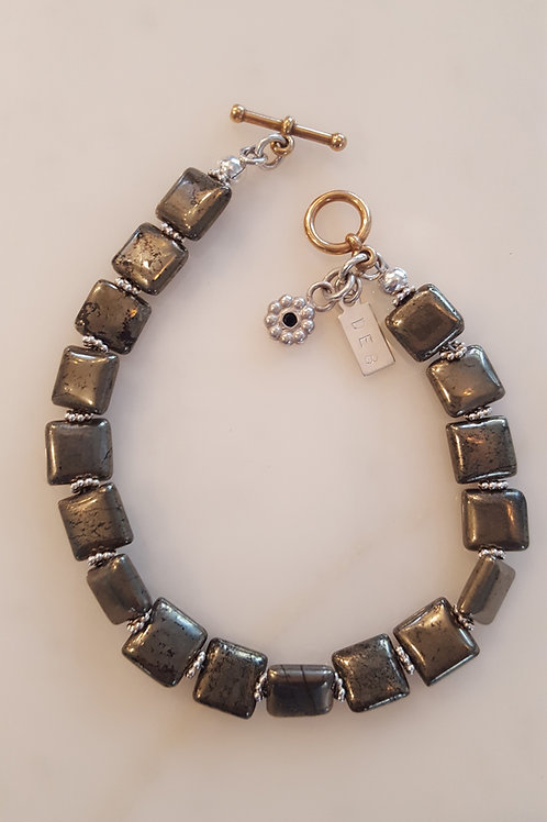 Pyrite Bracelet 7 mm beads