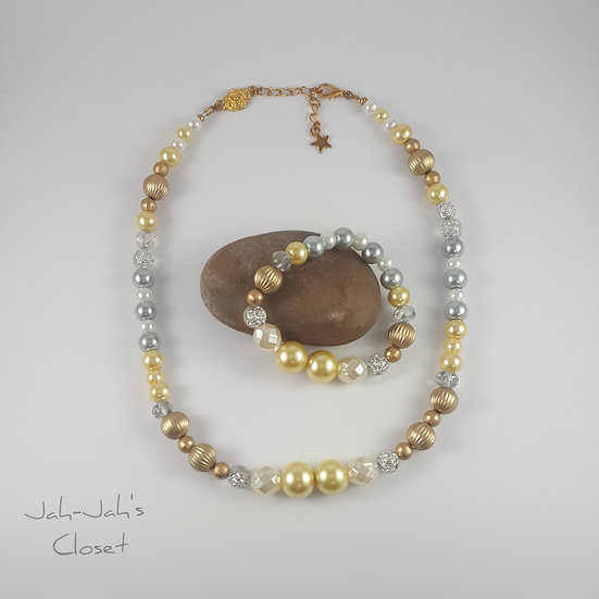Child Jewellery Set - Golden Silver Mixed Pearl - Necklace & Bracelet (2pc Set)