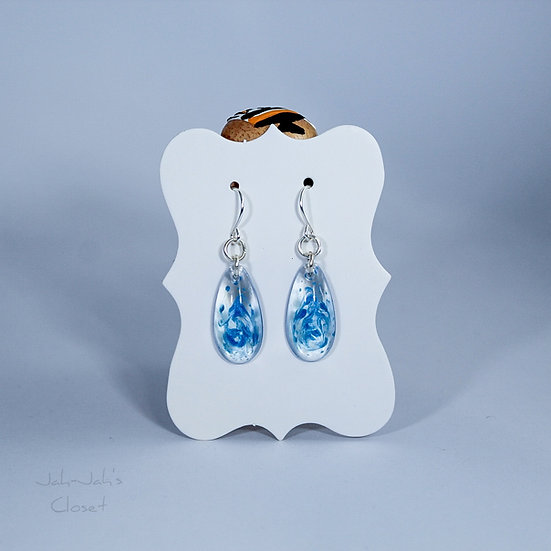 Resin 'Tear-Drop' Earrings - Clear/Blue Swirl