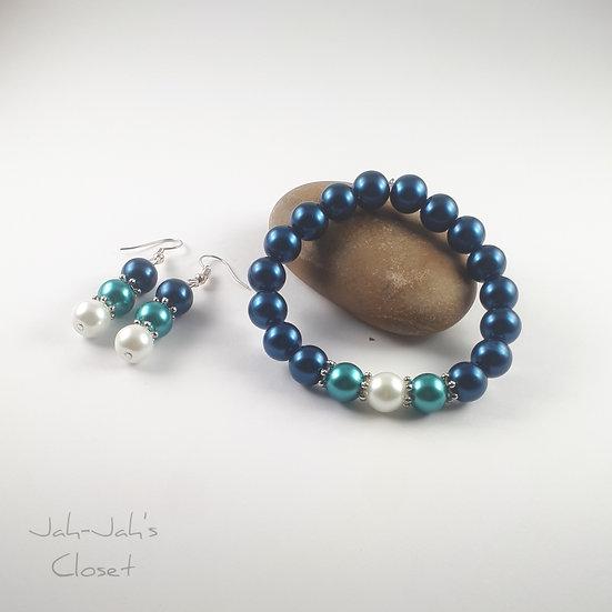 Adult Jewellery Set - Bracelet & Earrings - Mixed Blue Faux Pearl