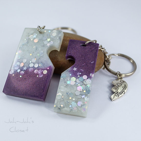 Mother & Daughter Resin Keyring - Purple & White