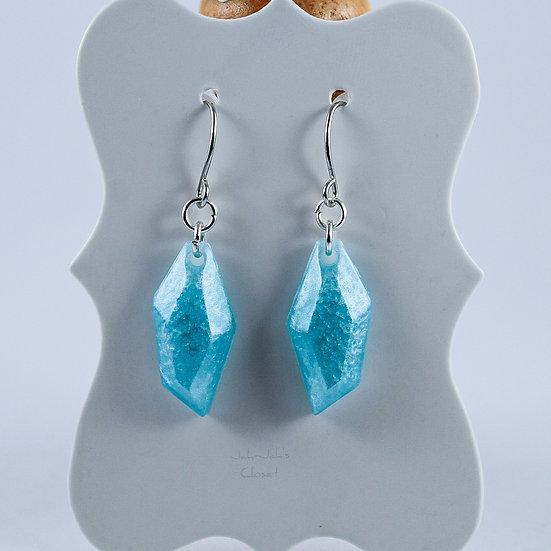 Resin 'Crystal-Drop' Earrings - Silk Blue