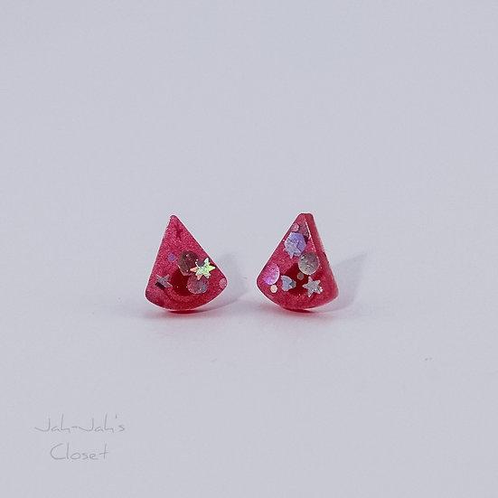 Resin 'Tear-Drop' Stud Earrings - Light Red