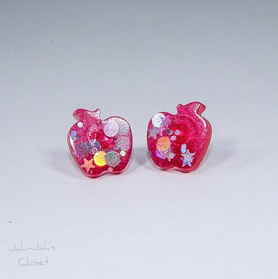 Resin 'Apple' Stud Earrings - Red/Glitter