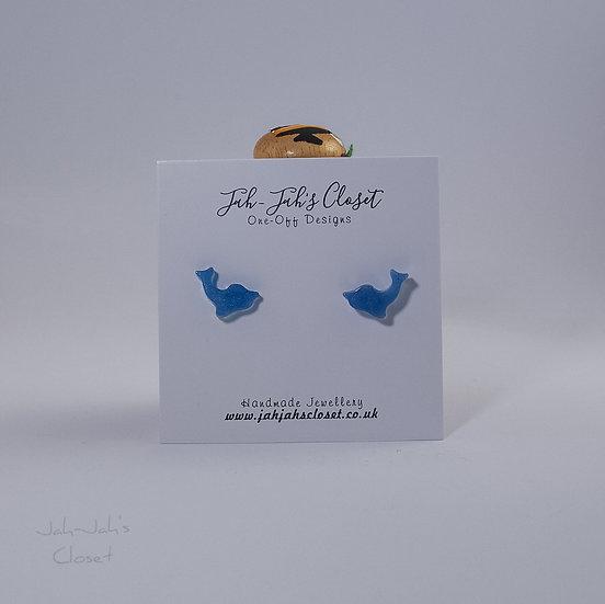 Resin 'Dolphin' Stud Earrings - Light Blue