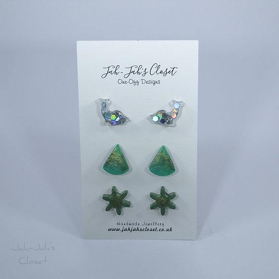 Resin Stud Earrings - 3 Pack - Moss Green