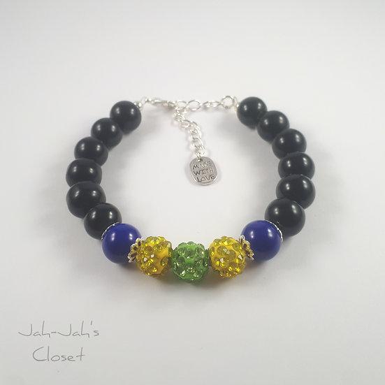 Sparkle Ball Clasp Bracelet - Green/Yellow
