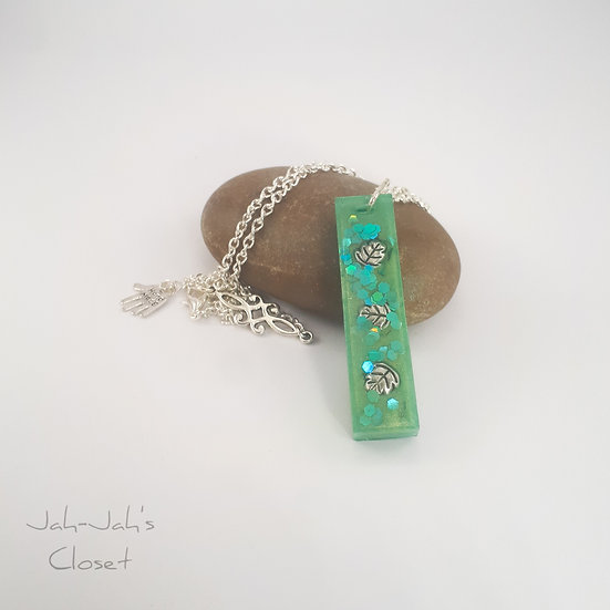 """Green Leaf"" - Resin Pendant - Silver Plated Chain"