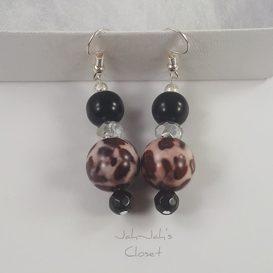 Drop Bead Earrings - Black Leopard Print