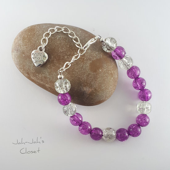 Junior Silver Plated Clasp Bead Bracelet - Purple Crackle
