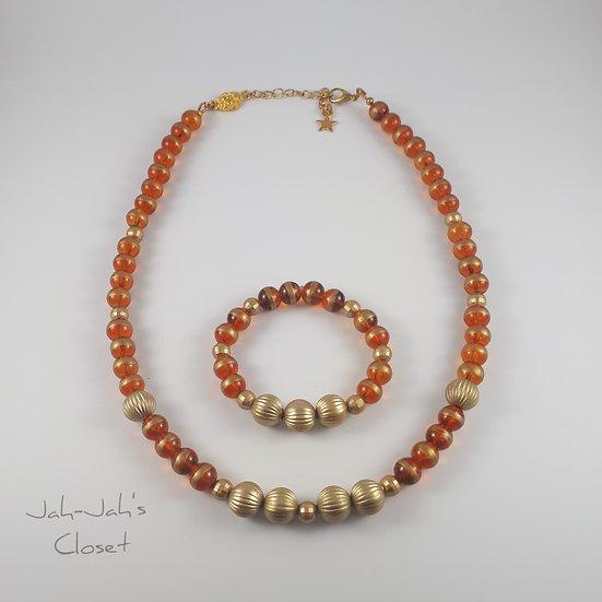 Child Jewellery Set - Gold/Brown Necklace & Bracelet (2pc Set)