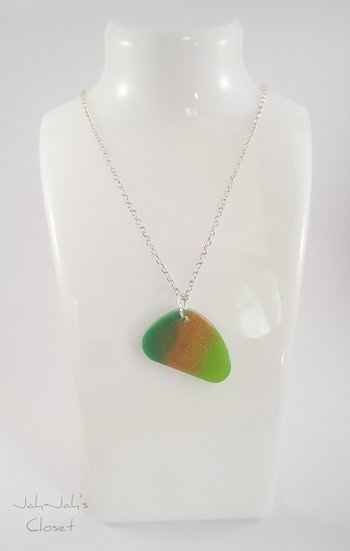 Resin Pendant - Silver Plated Chain - Green/Gold