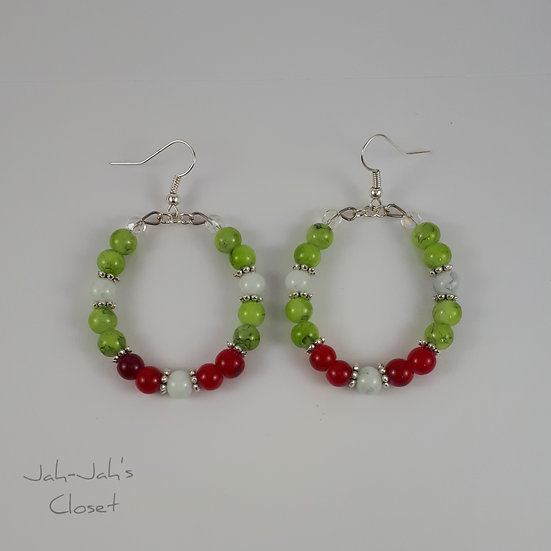 Hoop Earrings - Mottle Bead - Green