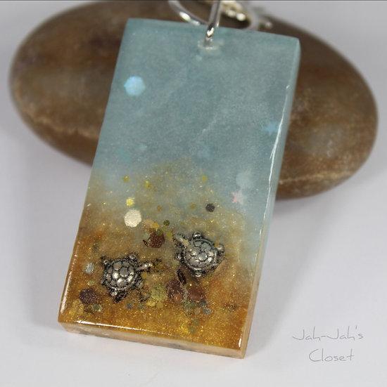 Resin Key-ring - 'Beach Turtles'
