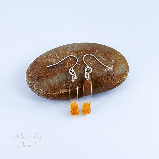 Resin 'Bar' Drop Earrings - Clear/Gold