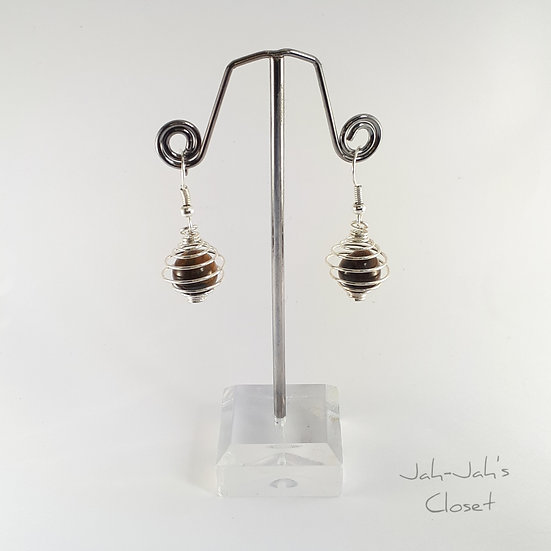 Silver Plated Spiral Cage Earrings - Tigers Eye (Semi Precious) Bead