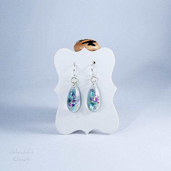 Resin 'Tear-Drop' Earrings - 'Under the Sea' - Glitter