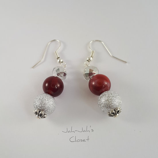 Drop Bead Earrings - Red Marble & Silver