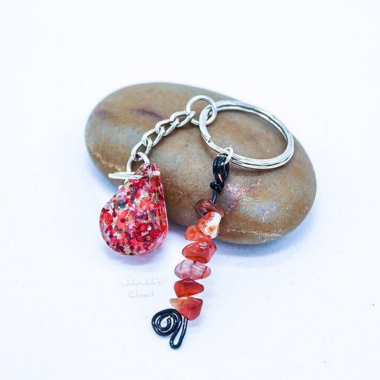 Glitter 'Teardrop' Key-Ring - Red Carnelian Charm