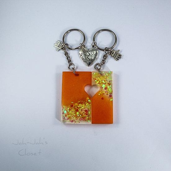 Mother & Daughter Resin Keyring - Orange/Citrus Punch