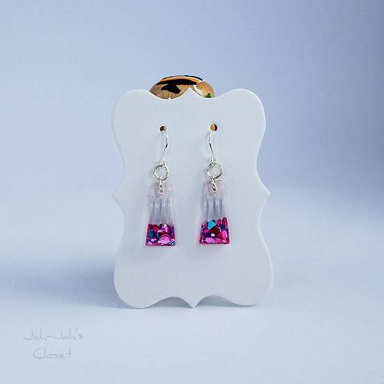 Resin Drop Earrings - 'Hot Mess'