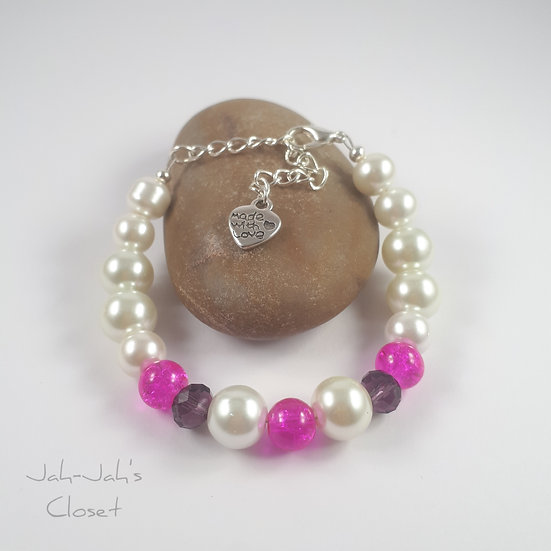 Junior Silver Plated Clasp Bracelet - Pink Crackle & White Faux Pearl
