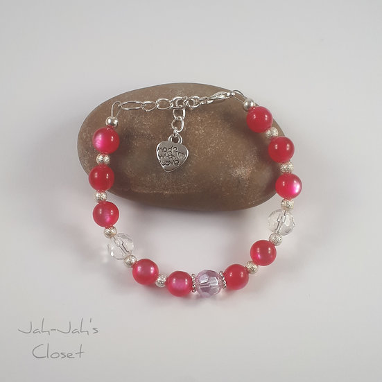 Junior Silver Plated Clasp Bracelet - Hot Pink