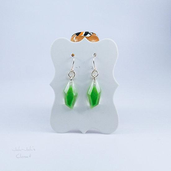 Resin 'Crystal-Drop' Earrings - Green/Clear