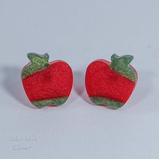 Resin 'Apple' Stud Earrings - Red/Green