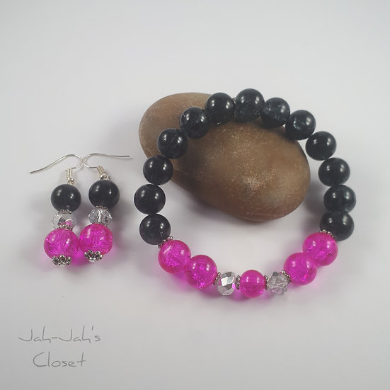 Adult Jewellery Set - Bracelet & Earrings - Pink/Black