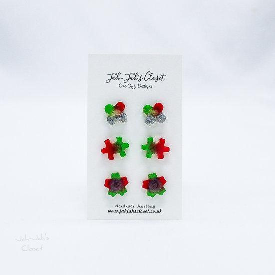 Resin Stud Earrings - 3 Pack - Green & Red