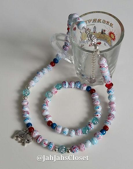White & Blue Mottle Jewellery Set