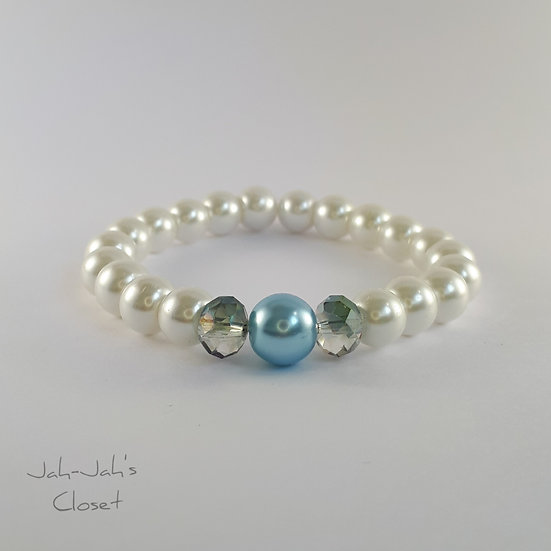 Junior Stretch Bead Bracelet - Icy Blue & Ivory Imitation Pearl