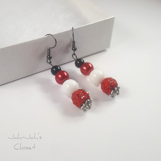 Drop Bead Earrings - Red, Black & White
